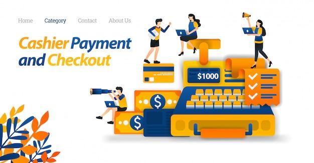 ビジネス、金融、電子商取引の目的のためのレジ設計のためのランディングページwebテンプレート。お金とクレジットカードのデザイン Premiumベクター