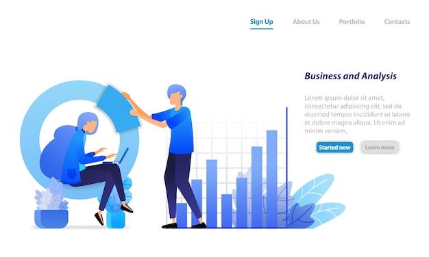 ランディングページのwebテンプレート。財務分析のためのビジネス会議、棒グラフ、およびサークル。会社の利益を伸ばします。 Premiumベクター
