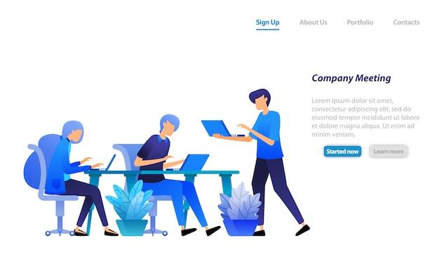 ランディングページのwebテンプレート。会議を始めるために集まる従業員。会社の問題について話し合い、解決策を見つけてください。 Premiumベクター