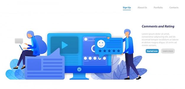 ランディングページのwebテンプレート。ビデオ、およびソーシャルメディアインフルエンサーコンテンツのステータスに対するコメント、評価、お気に入り、およびフィードバックを提供します。 Premiumベクター