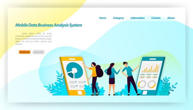 アプリケーション用のモバイルデータビジネスアナリストシステム。金融およびビジネス等尺性デザイン。ランディングページwebテンプレート Premiumベクター