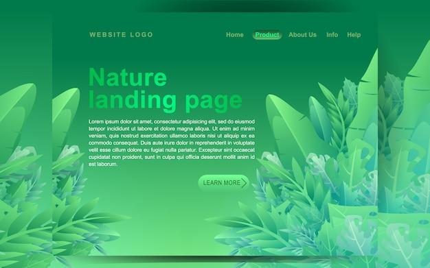 モダンなグリーンフラットデザインコンセプト。ランディングページテンプレート。ビジネスwebページ、ウェブサイトおよびモバイルサイトのモダンなフラット花のベクトル図の概念。漫画のスタイルのベクトル図 Premiumベクター