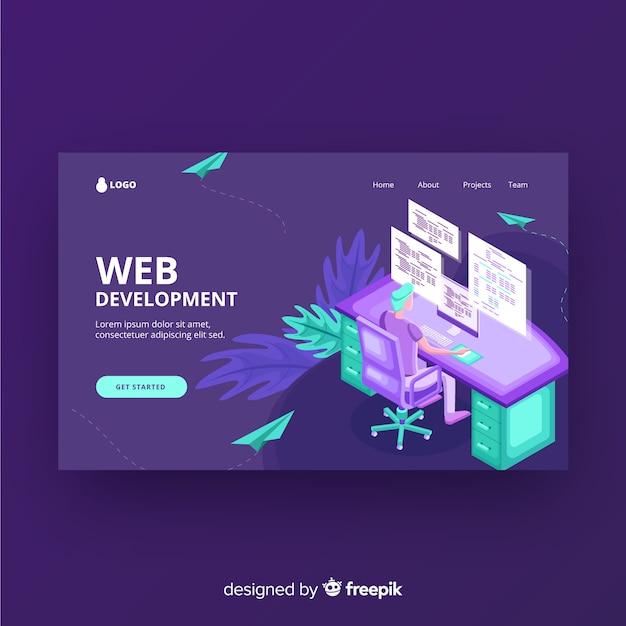 Web開発ランディングページ 無料ベクター