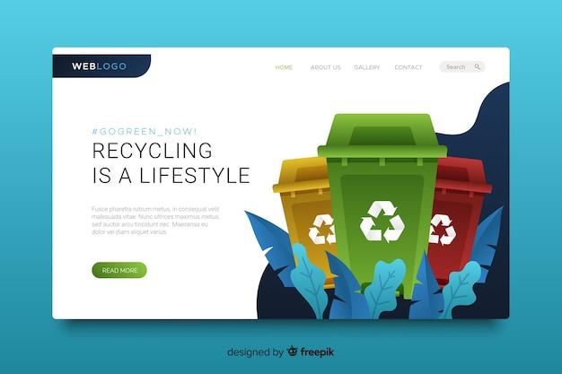 リサイクルwebサイトのランディングページテンプレート 無料ベクター