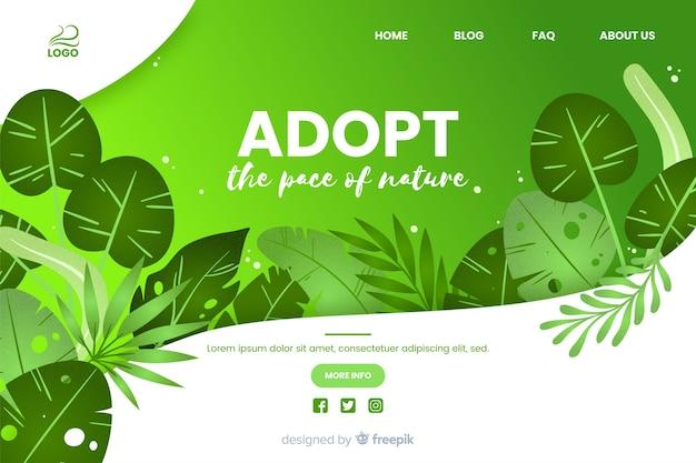 自然の平和webテンプレートを採用する 無料ベクター