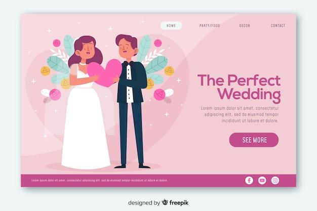カラフルな結婚式のランディングページwebデザイン 無料ベクター