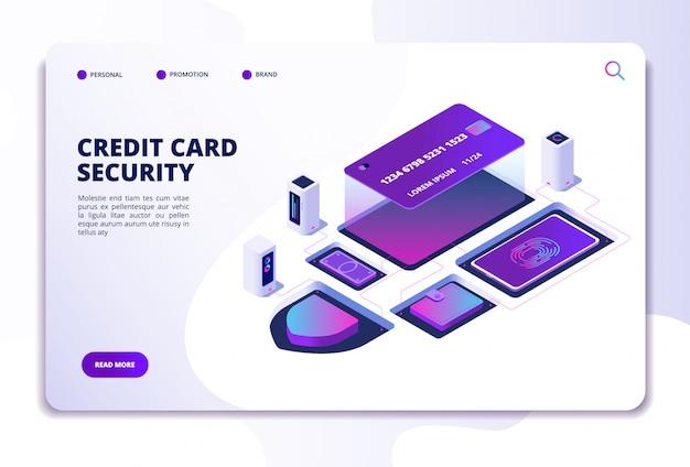クレジットカードのセキュリティwebサイトテンプレート Premiumベクター