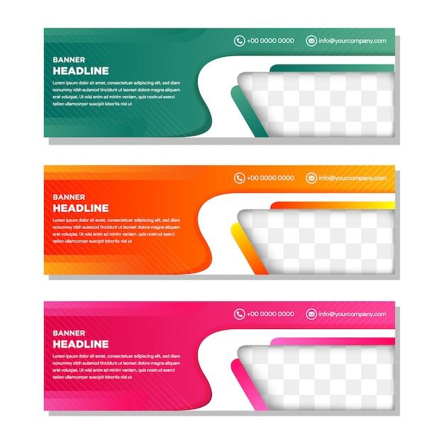 写真のコラージュのための斜めの要素を持つカラーwebバナーのテンプレートを設定します。 Premiumベクター