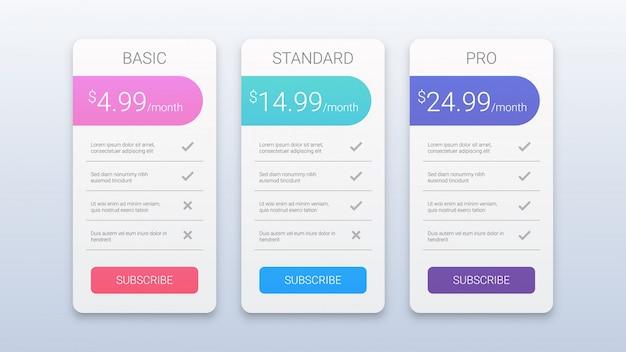 Web用のシンプルでカラフルな価格表テンプレート Premiumベクター