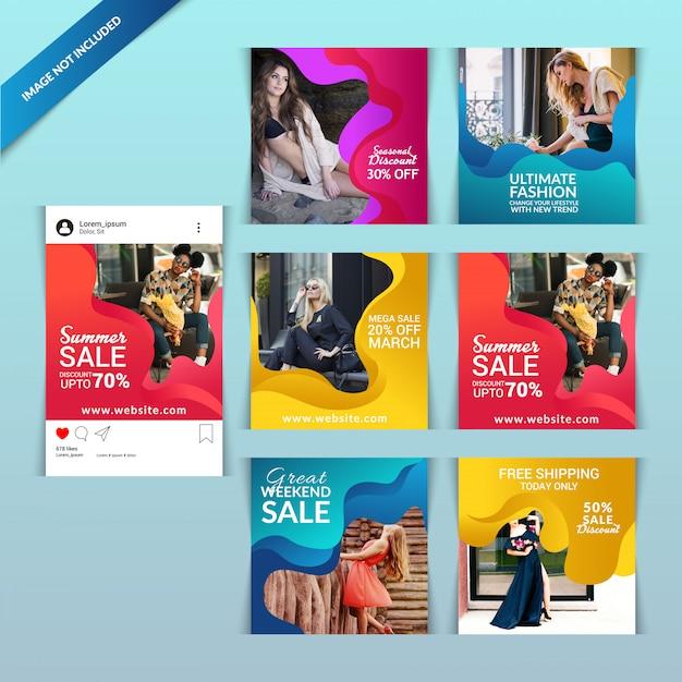 ソーシャルメディア用のファッションwebバナー Premiumベクター