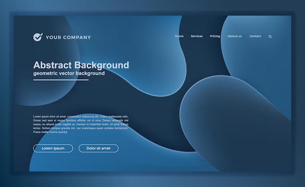 トレンディな抽象的な青い液体ランディングページまたはwebテンプレート Premiumベクター