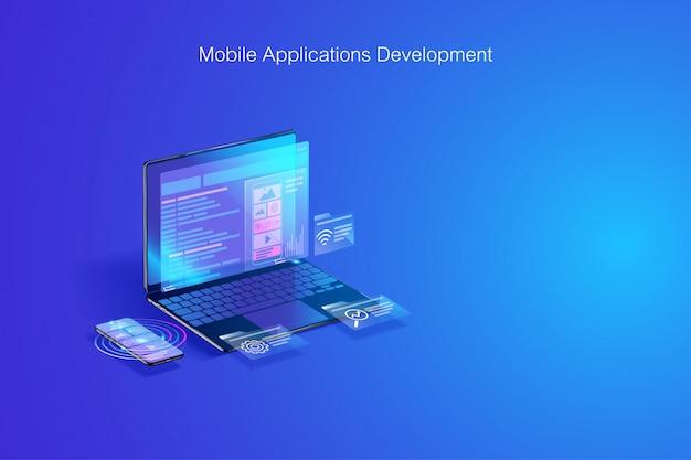 Web開発、ソフトウェアのコーディング、ラップトップおよびスマートフォンの概念に関するプログラム開発 Premiumベクター