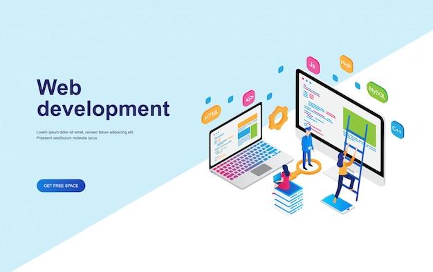 Web開発、プログラミングコンセプトアイソメトリックデザイン Premiumベクター