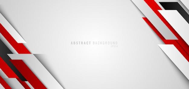 抽象的なバナーweb赤と白の幾何学的な白い背景 Premiumベクター