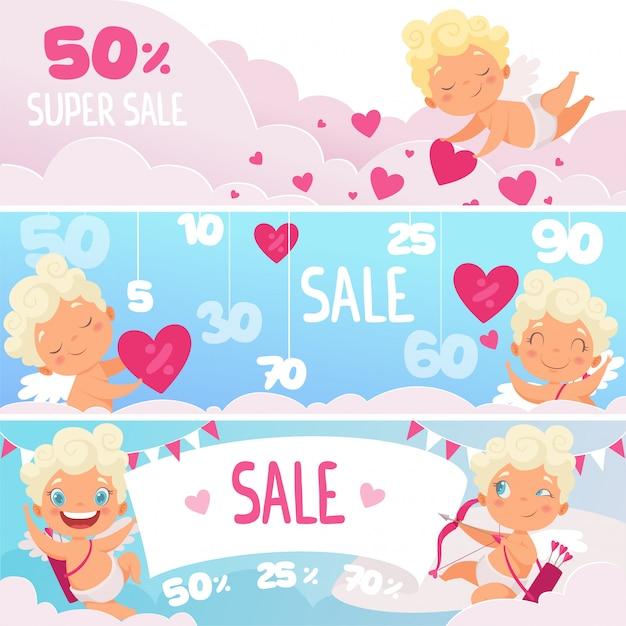 バレンタインの日セールのバナー。弓ロマンチックなシンボル市場またはwebラベルと赤いハートかわいい面白いキューピッド Premiumベクター