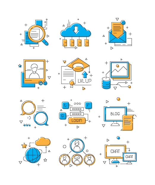 デジタルメディアアイコン、ソーシャルマーケティング、コミュニティの人々グループwebトークモバイル接続の例の色付きの線記号 Premiumベクター