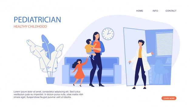 小児科医の健康な子供時代のランディングページwebテンプレート。 Premiumベクター