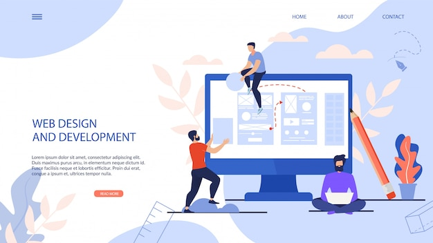 Webデザインと開発のランディングページ Premiumベクター