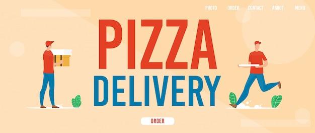ピザ配達サービスフラットwebバナー Premiumベクター