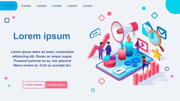 マーケティングオンラインサービス等尺性ベクターwebページ Premiumベクター