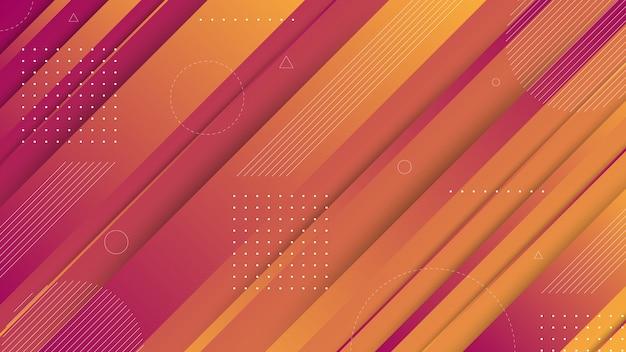 現代の抽象的なグラフィック要素。流れる液体の形と斜めの線で抽象的なグラデーションバナー。ランディングページデザインまたはwebサイトの背景のテンプレート。 Premiumベクター