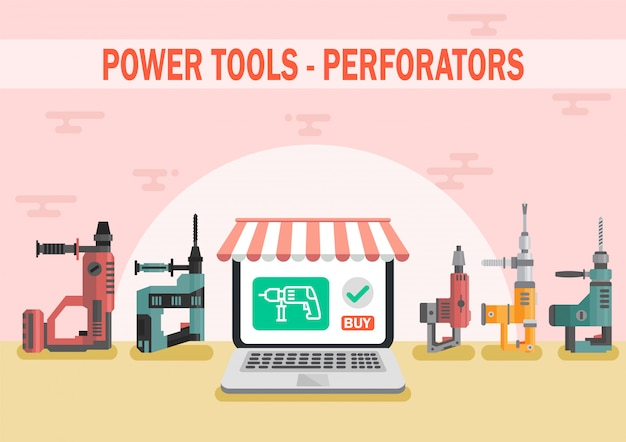 電動工具オンラインショップフラットベクターwebバナー Premiumベクター