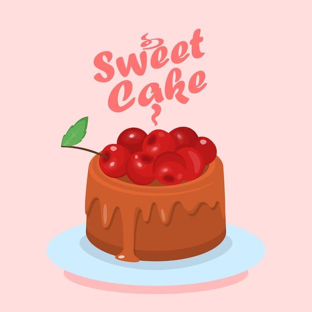 桜漫画webバナーとチョコレートケーキ Premiumベクター