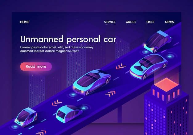 安全な無人人工知能自動車とランディングページwebテンプレート Premiumベクター