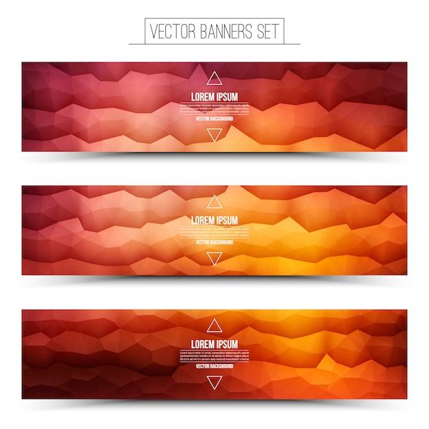 ベクトル抽象的な技術赤オレンジ色のwebバナーセット Premiumベクター