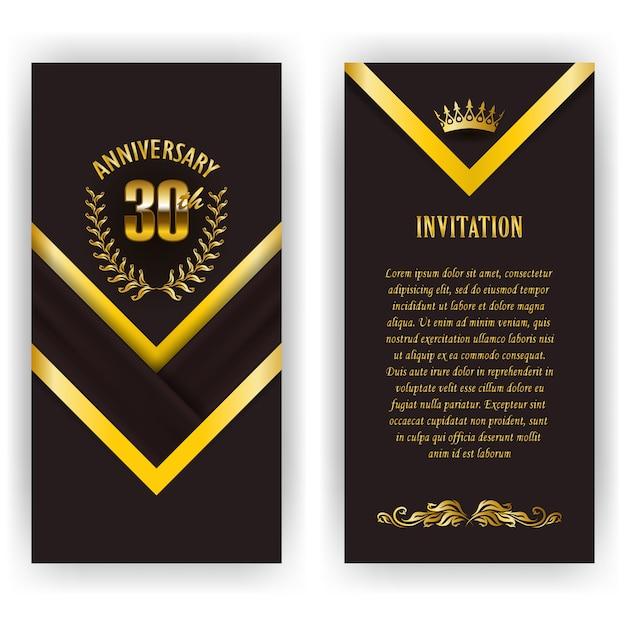 記念日カード、月桂樹の花輪、数の招待状のセット。黒の背景にジュビリーの装飾的な金の紋章。フィリグリー要素、フレーム、境界線、アイコン、web、ビンテージスタイルのページデザインのロゴ Premiumベクター