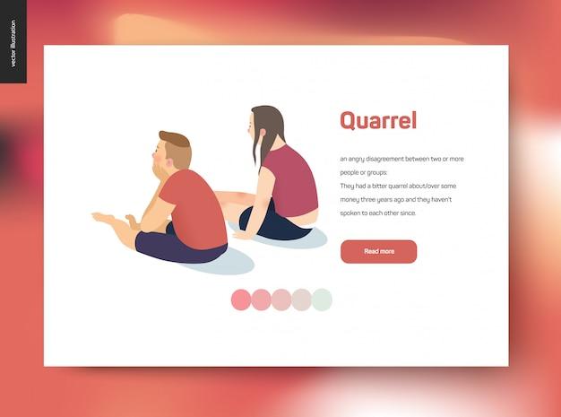 口論ベクトル概念図 -  webテンプレートの競合の後、お互いから離れて沈黙の中で座っている若いカップルとのシーン Premiumベクター
