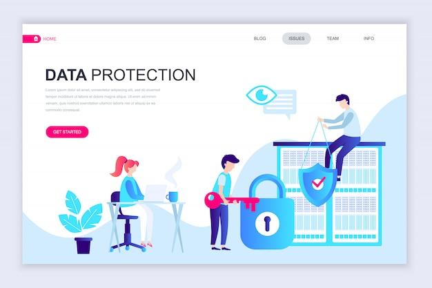 データ保護の最新のフラットなwebページデザインテンプレート Premiumベクター