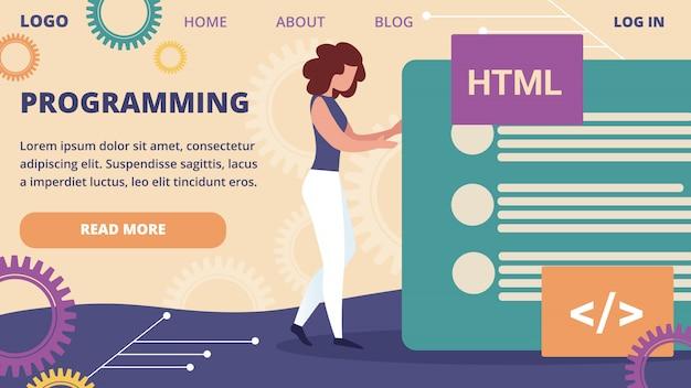 女性プログラマーがサイトのwebインターフェイスプロジェクトを作成 Premiumベクター