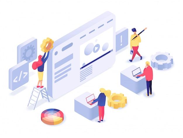 Webデザインと開発等尺性 Premiumベクター