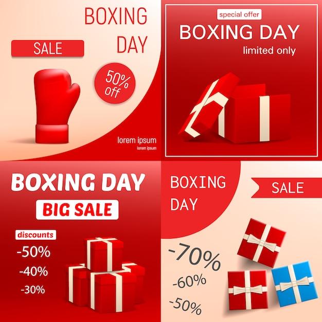 ボクシングデーセールバナーセット。 webデザインの設定ボクシングデーセールベクトルバナーのリアルなイラスト Premiumベクター