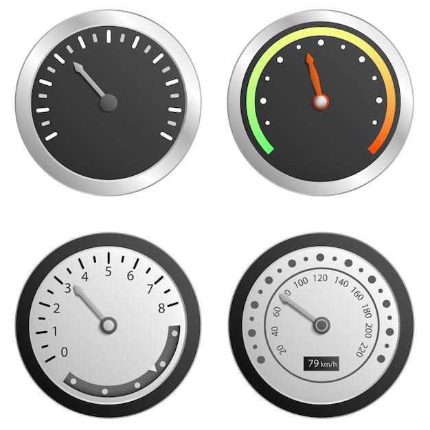 スピードメーターのアイコンを設定します。 webデザインの白い背景で隔離のスピードメーターベクトルアイコンの現実的なセット Premiumベクター