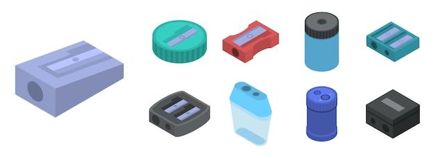 シャープナーのアイコンを設定します。白い背景で隔離のwebデザインのためのシャープナーベクトルアイコンの等尺性セット Premiumベクター