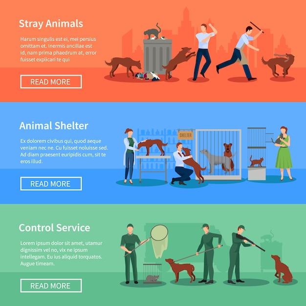 野良犬問題フラット水平方向のバナー設定動物シェルターと抽象的な分離ベクトル図とwebページデザイン 無料ベクター