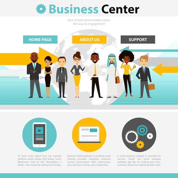 ビジネストレーニングwebページのインフォグラフィック 無料ベクター