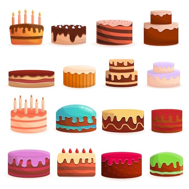 ケーキの誕生日のアイコンを設定します。 webデザインのためのケーキ誕生日ベクトルアイコンの漫画セット Premiumベクター