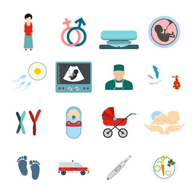 Webおよびモバイルデバイス用に設定された妊娠フラット要素 Premiumベクター