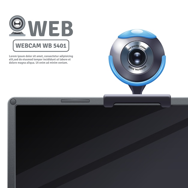 Webcam fixed on computer or laptop with model data Free Vector
