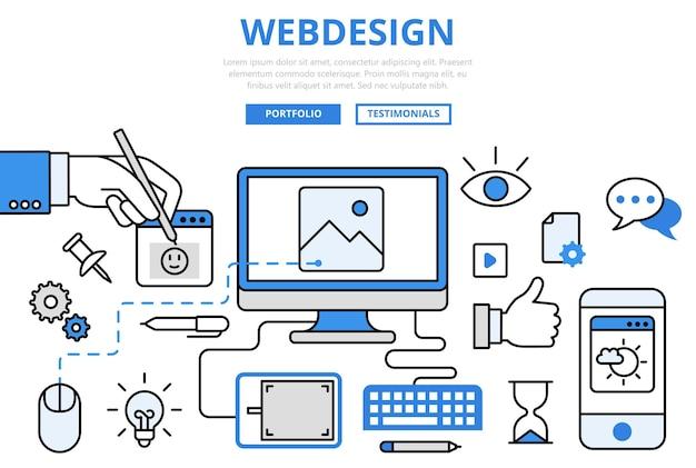 Веб-дизайн, дизайн веб-сайта, графический интерфейс пользователя, каркасный прототип, разработка внешнего интерфейса, концепция интернета, плоская линия, значки искусства. Бесплатные векторы
