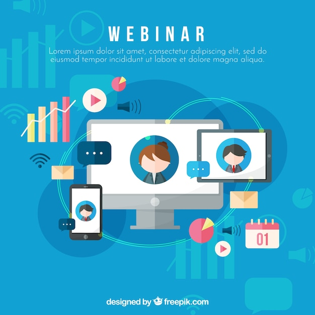 Webinar background with devices in flat style Free Vector