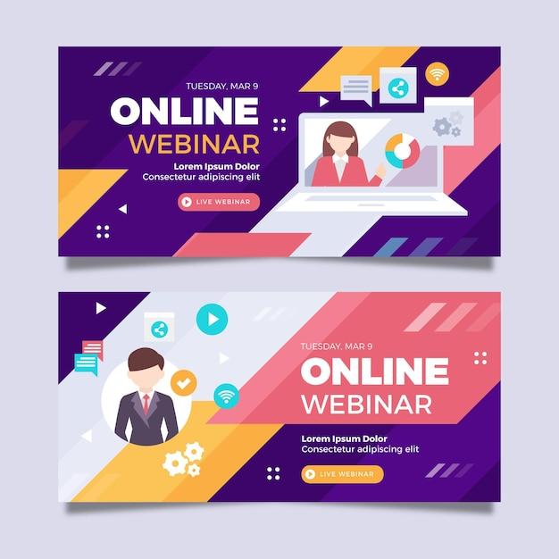 Modello di invito banner webinar con illustrazioni Vettore gratuito