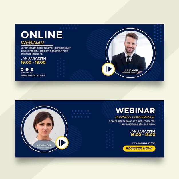 Insieme di progettazione di banner webinar Vettore gratuito