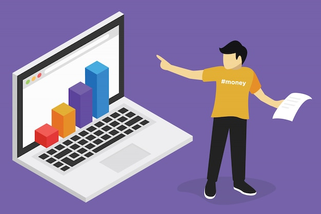 Webinar concept, business finance online training, education on computer, e learning workplace Premium Vector