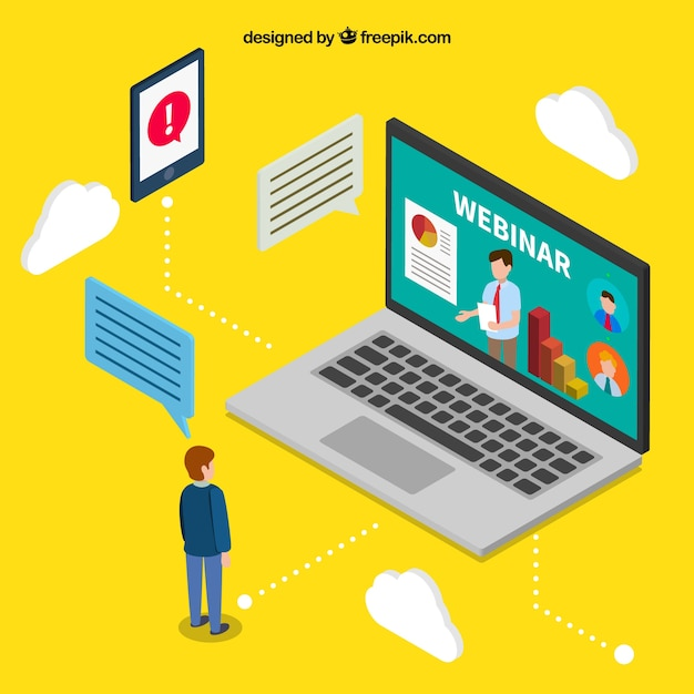 Webinar concept in isometric style Free Vector