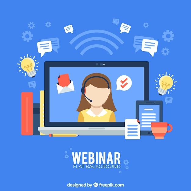 Концепция веб-семинара на синем фоне Premium векторы