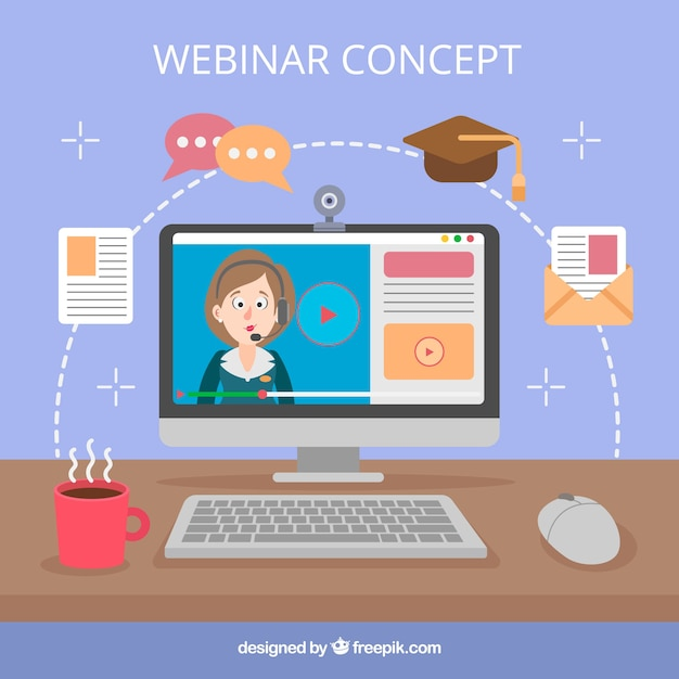 Webinar concept on desk Free Vector
